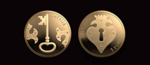 Latvia 2021 gold coin 5 Euro GOLD KEY  (low mintage 2000 )