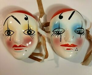 Wall hanging pair of Porcelain Bisque Harlequin Mardi Gras Vintage masks 321