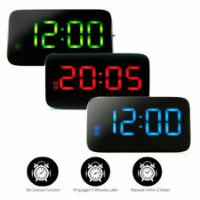 USB LED LCD Digital Alarm Clock Snooze Large Battery Power Voice Control