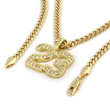 "Men's 14k Gold Plated High Fashion 23 Cz Pendant 18k 3mm 24"" Hip Hop Cuban Chain"