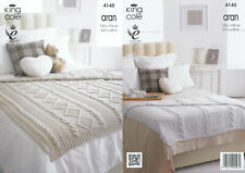 King Cole Recycled Cotton Aran Knitting Pattern Cable Knit Blankets Throws 4145