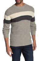 Slate & Stone Men's Grey Stripe Print Crew Neck Sweater Small MSRP $198