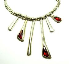 UNO DE 50 $290 Sterling Silver Plated Garnet Color Swarovski Crystal Necklace