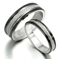 Black Matching Couple Wedding Bands Titanium Rings Couple Rings Size H to Z6