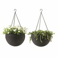 2 Pc Hanging Rattan Planter Brown Resin Round Plastic Garden Deco in / out