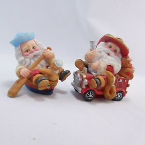 "Fireman Santa On Firetruck & Santa In A Rowboat Ornaments 3"" 1998 E.C."
