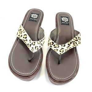 YELLOW BOX Women's Leopard Print with Patterned Wedge Flip Flops SIZE 10