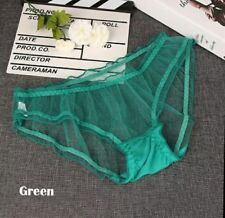 Women Sexy Sheer Knickers  Transparent stretched underwear. Free size Green UK