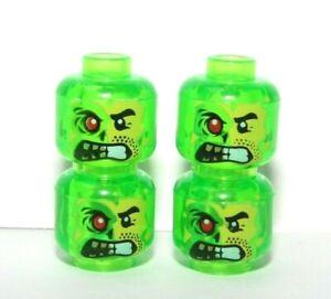 Lego 4 Minifigure Head Heads Trans Bright Green  Monster Halloween