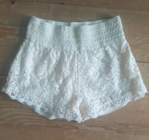 Poof! Ivory Lace Embroidered Soft Shorts Size Medium