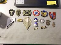 VINTAGE LOT OF MILITARY CLOTH PATCHES AND A FEW METAL BADGES