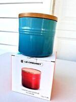 Le Creuset Stoneware Canister 1.5 Quart Caribbean Blue  w/ Wood Lid 1 1/2 NIB