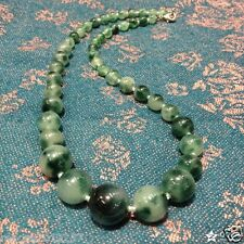 Natural color jade 6-12mm Round Beads Gemstone Necklace 18""