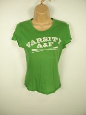 WOMENS ABERCROMBIE GREEN VARSITY A&F LOGO ROUND NECK CAP SLEEVE T-SHIRT SIZE M