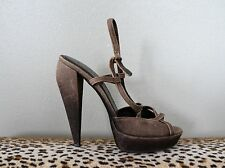 BURBERRY Brown Ombre Leather Canvas Strappy Heels Shoes - Size 40 US 10