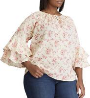 Chaps Womens Plus Size 3X Ruffle Sleeve Blouse Gauze Top Floral Semi-Sheer $66