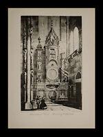 Strasbourg (Strasburg) Cathedral Astronomical Clock 1886 RARE Photogravure