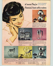 1954 PAPER AD Cory Coffee Brewer Glass Stainless Steel Double Pots