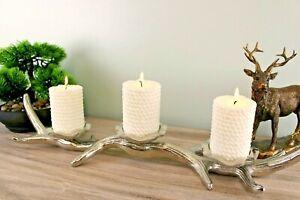 3 Piece Silver Metal Antler Candle Holder Sculpture Ornament Candlestick