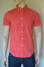 NEW Abercrombie & Fitch Classic All-Over Print Short Sleeve Shirt Red M