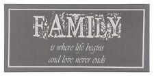 Bild Keilrahmen Familiy Schriftzug grau weiß 33x70cm
