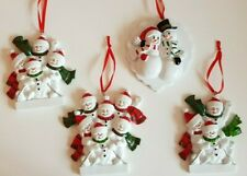 Personalised Christmas Tree Decoration Snowman Family on Sledge 2-6 & Baby Bump