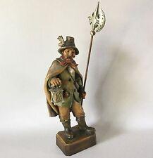 "Black Forest Swiss NIGHT WATCHMAN Man w/ Lantern & Halberd Wood Carving 13 1/2"""