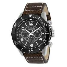 Invicta 24552 48mm Aviator Quartz Dual Time GMT Leather Strap Men's Watch