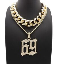 NEW ICED OUT MIAMI CUBAN CHAIN & 69 CHAIN SET.