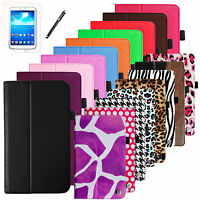 Folio Leather Stand Case Cover Stylus for Samsung Galaxy Tab 3 7.0 7-inch Tablet