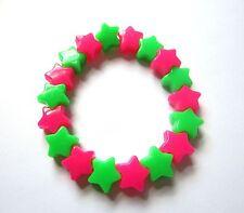 Kitsch Neon Rosa e Verde in Plastica Star cordoni Elastici Bracciale Retrò Festival