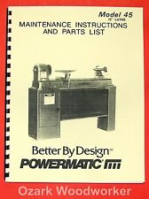Powermatic 45 Wood Lathe Instruction Amp Parts Manual 0542