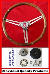 "1970-77 Mercury Comet Cougar Montego Marquis Grant Walnut Steering Wheel 15"" SS"