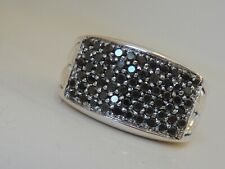 $1450 DAVID YURMAN SILVER  MENS CHEVRON BLACK DIAMOND RING