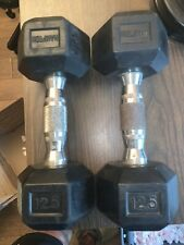 (2) Hampton 12.5 Pound Hex Dumbbells Rubber Weights Gym ( 25 Lbs. Total )
