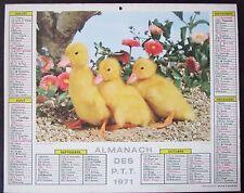 CALENDRIER ALMANACH des PTT de 1971  CANETONS et PETIT CHAT