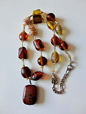 """BROWN STONE PENDANT Glass Bead and Bugles Necklace 17"""" EXCELLENT!"""