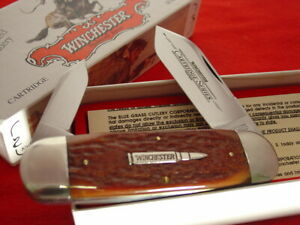 "Winchester USA 29110 4.5"" Cartridge Shield Bone Elephant Toe Sunfish Knife MIBld"