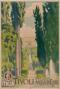 Original Vintage Poster - Italia - Tivoli - Villa d'Este - Garden - Circa 1925