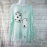 Wildfox Womens Distressed Lennon Sweater Sz Medium Dice Print