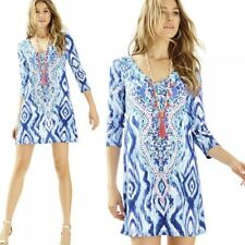 NWT LILLY PULITZER L Ophelia Blue Swish Skipped a Beach Engineered $178 Large