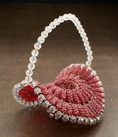Vintage Mid Century Safety Pin and Beads Red Basket Tramp Art