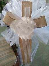 6 pc burlap wedding pew bows white with white rose with burlap or any color