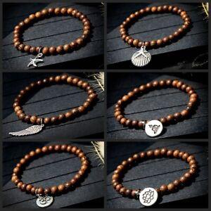 2021 Wood Beaded Yoga Chakra Prayer Mala Buddha Women Men Bracelets Jewelry