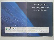 9/1991 PUB MATRA MARCONI SPACE METEOSAT SPOT ERS-1 SATELLITE ORIGINAL AD