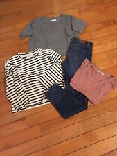 Madewell LOT of 4 crop tops, t-shirt high rise skinny jeans size 26 small
