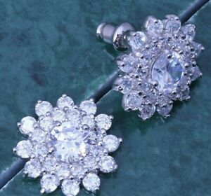 Sun Flower Sparkly White CZ Round Silver Stud Drop Earrings