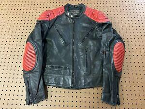 MENS 42 - Vtg  Motorcycle Biker Leather Jacket