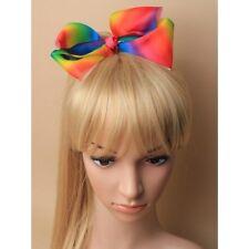 bow 18cm Bright rainbow coloured grosgrain ribbon hair bow on a crocadile clip