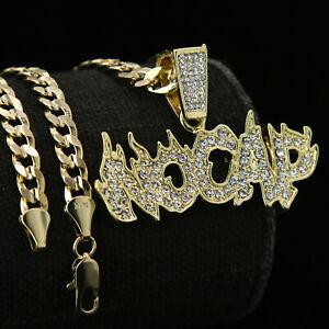 """Hip Hop 14k Gold PT """" NO CAP """" Fire Letter Pendant 6mm 24 30"""" inches Cuban Chain"""